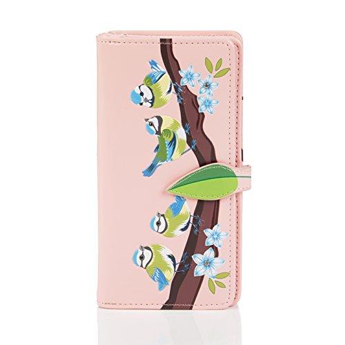Shagwear Junge-Damen Geldbörse , Large Purse: verschiedene Farben und Designs: (Blaue Vögel Pink/ Blue Birds)