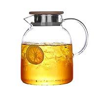 厚めのガラス冷水ボトル耐熱防爆家庭用大容量クールホワイトケトルガラスティーセット-Bamboosteelcover-1.7L