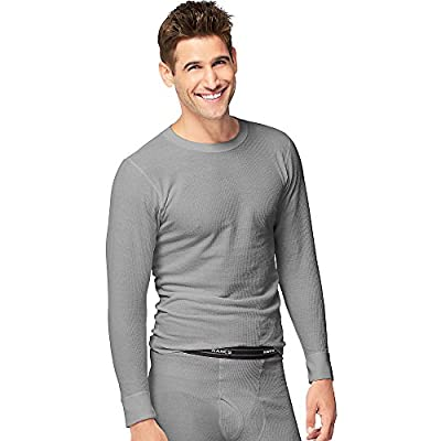 Hanes Mens Organic Cotton Thermal Crew (14500) Heather Grey M