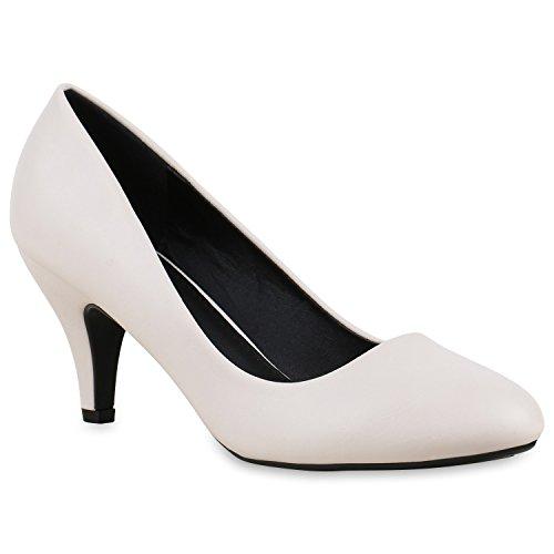 Klassische Damen Pumps Stilettos Abend Leder-Optik Glitzer Metallic Lack Schleifen Tanz Braut Schuhe 133233 Creme Carlton 40 Flandell