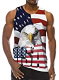 Goodstoworld 4 July Tanks Tops for Men 3D American Patriotic Printed Graphic Shirts Hipster USA Flag Animal Tops Summer Stripe Tees Vacation Gift XXL