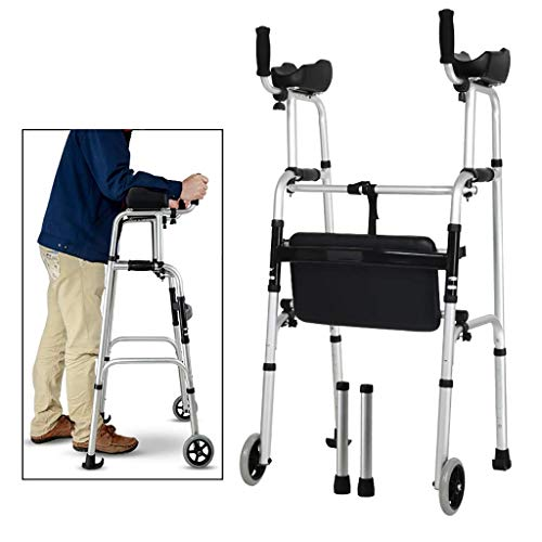 IWQTO FKDEWALKER Walking Mobility Aid,Aluminium Folding Walking Frame,Wheeled Walker with Seat and Arm Rest,Lower Limb Trainer,S.