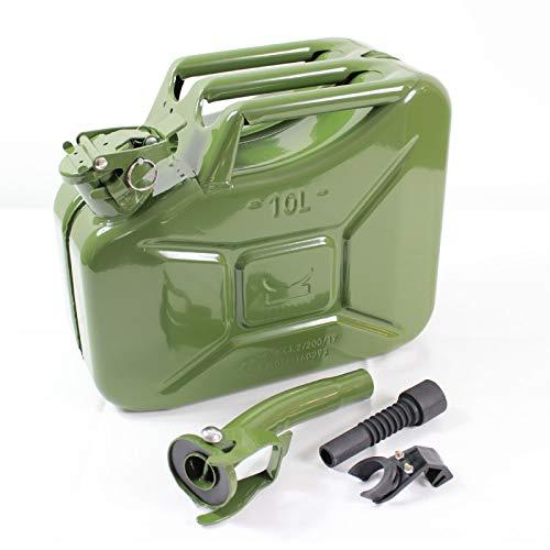 TRUTZHOLM® Benzinkanister Kraftstoffkanister Metall 10 Liter Olivgrün inkl. Ausgießer + Halterung mit UN-Zulassung - Kanister für Benzin und Diesel