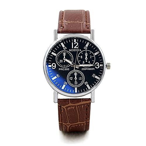 WEFH Reloj Hombre Esfera Minimalista Punteros Elegantes Reloj de Cuarzo Cinturón de Cuero PD999, marrón y Negro