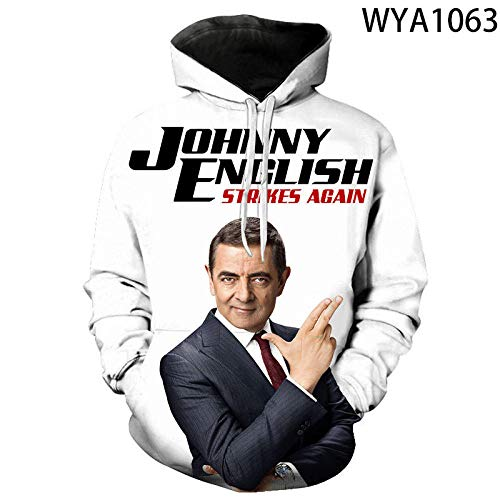 Sudadera con Capucha Johnny English Strikes Again Movie Sudaderas 2020 Hombres Mujeres Niños Sudaderas con Capucha 3D Divertido Mr Bean Boy Girl Niños