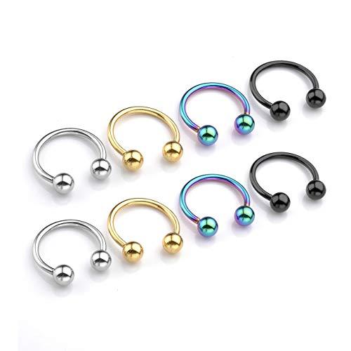 Captive Bead Ring CBR Chiusura Palla 316L argento acciaio 1.6mm x 8mm x 4 mm