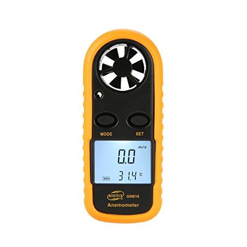 Laurelmartina BENETECH GM816 Termómetro Digital del anemómetro Velocidad del Viento Medidor de...
