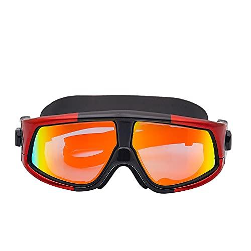 LANGTAO Gafas Buceo Alta Definición, Gafas Impermeables Antivaho, Gafas Natación Resistentes Desgaste con Montura Grande, Gafas Silicona Anti-Ultravioleta, Aptas para Nadar Surfear,Rojo