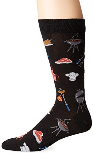 K. Bell Men's Food and Drink Novelty Crew Socks, Grill Master (Black), Shoe Size: 6-12