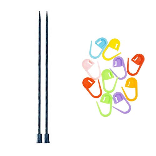 Knitter's Pride Knitting Needles Dreamz Single Point 10 inch (25cm) Size US 11 (8.0mm) Bundle with 10 Artsiga Crafts Stitch Markers 200412