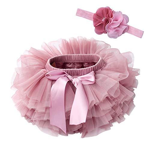 Vobony Falda de Tutú con Cinta de Pelo de Flores para Bebé Niñas Recién Nacido Tutú de Tul de Princes Accesorios de Fotografía para Cumpleaños Fiestas