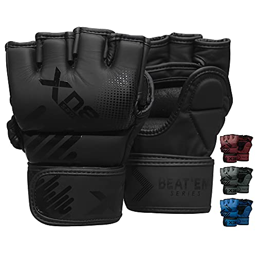 XN8 MMA Gloves Boxing Training Sparring Fight Grappling Mitts with Open Palm- for Cage Fighting-Combat Sports- Punching Bag-Muay Thai & Kickboxing (Black, M)