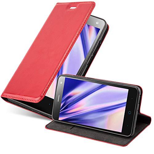 Cadorabo Hülle für ZTE Blade L3 in Apfel ROT - Handyhülle mit Magnetverschluss, Standfunktion und Kartenfach - Case Cover Schutzhülle Etui Tasche Book Klapp Style
