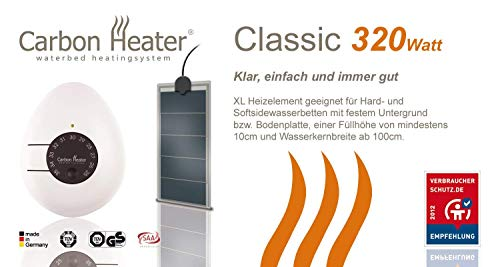 Carbon Heater TBD Classic XL -320 Watt- intelligente Energiespar-Wasserbettheizung für Solo/Mono/Uno Wasserbetten