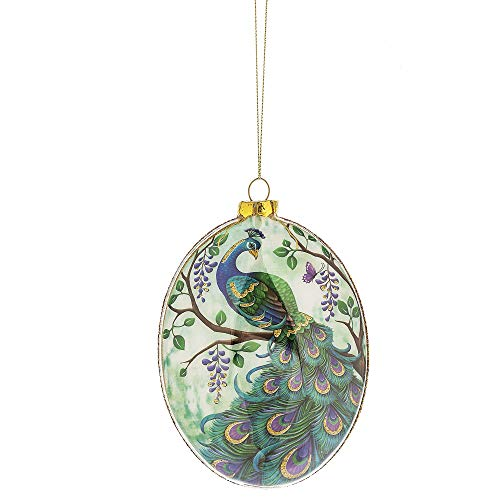 Alluring Purple Blue Peacock Disk 5.5 inch Glass Decorative Christmas Ornament