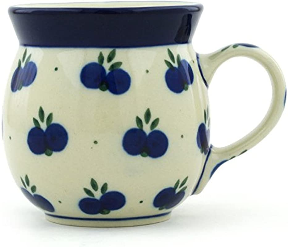 Polish Pottery Coffee Mug Bubble 8 Oz Wild Blueberry