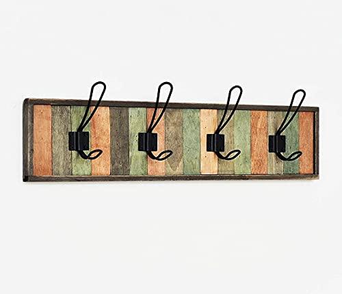 Perchero de pared, de madera, estilo rústico, con 4 ganchos, color negro