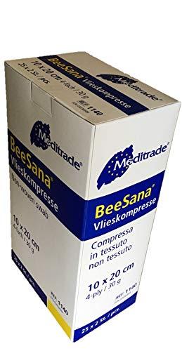 50 Stück Vlieskompressen steril 4-lagig BeeSana® 10 cm x 20 cm weiß