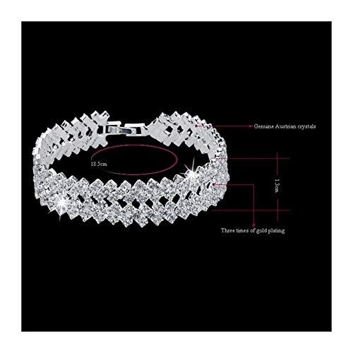 YYHZ Luxury Crystal Bracelets for Women Silver Color Bracelets & Bangles Femme Bridal Wedding Jewelry 2018 Vintage Bracelet (Color : SR)