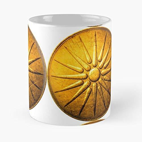 Taza de café de cerámica con la bandera del Reino de Grecia, diseño de Alexander Best de 315 ml, con texto en inglés 'Eat Food Bite John Best de 315 ml