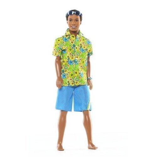 Barbie Surf's Up - Muñeca de Playa con Camiseta Hawaiana, Pantalones Cortos y Gafas de Sol Azules