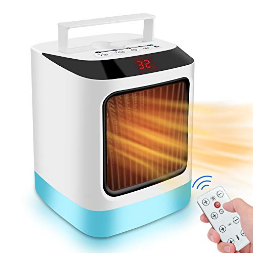 Portable Space Heater, Electric Desktop Heater Mini Energy Saving Desk Fan, Remote Control 800W Quick Heat Up Adjustable Thermostat Timing Setting for Office/ Home