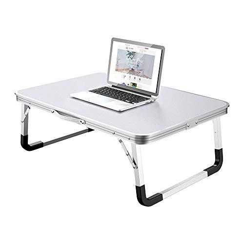 Mesa de ordenador portátil, plegable, plegable, multifunción, con ranura para taza/tableta, portátil, portátil, portátil, portátil, mesa de comedor pequeña (color gris)