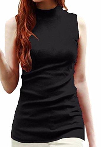 LIREROJE Womens Solid Plain Cotton Mock Turtle Neck Tank Top Black XL