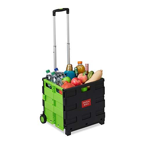 Relaxdays Einkaufstrolley klappbar, Teleskop-Griff, 2 Gummi Rollen, bis 35 kg, Shopping Trolley, Aluminium, ABS, grün