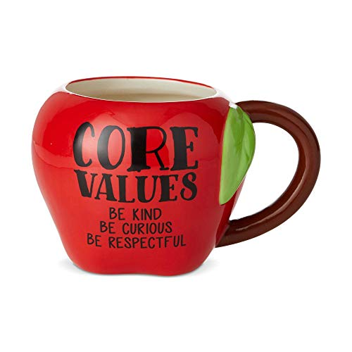 Enesco Our Name is Mud Teacher Core Values Apple Sculpted Coffee Mug, 1 Count (Pack of 1), Red