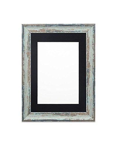 Fotolijst, met passe-partout, houtlook, onbreekbaar, plexiglas, 32 mm breed en 18 mm diep, lepelblauwe lijst met zwarte passe-partout, 35,6 x 27,9 cm