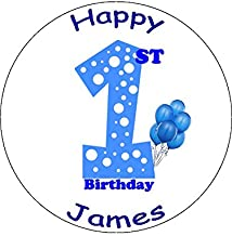 Novelty Personalised 1st Birthday Blue Balloons 7.5