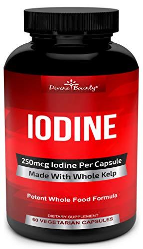 Iodine Supplement 250mcg - Iodine Pills from Sea Kelp (Grown in USA) - Potent Thyroid Support Supplement (Ascophyllum Nodosum) - Energy, Immune System & Metabolism Booster - 60 Sea Kelp Capsules