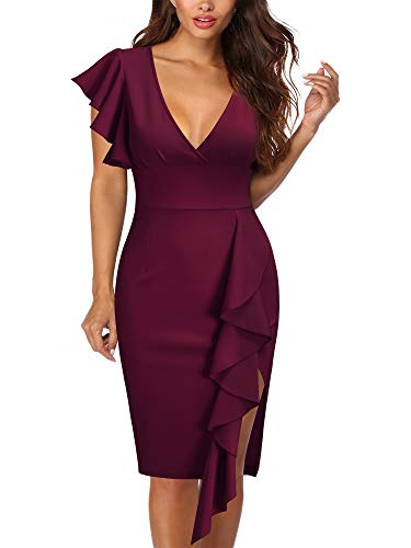 Knitee Women's Deep-V Neck Ruffle Sleeves Cocktail Party Pencil Slit Formal Dress (A-Wine, X-Large)