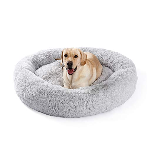 UMI by Amazon dog bed plush soft warm donut pet bed for dog fluffy sleeping bed multi-sized pet sofa for small medium dogs machine washable silvergrey XL