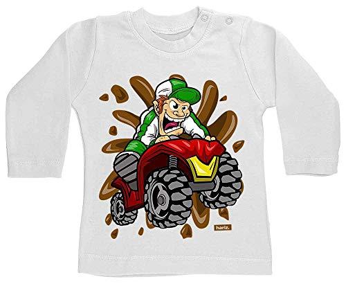 Hariz - Camiseta de manga larga para bebé, diseño de triciclo con coche de policía y diente de leche, 12-18 meses, color blanco