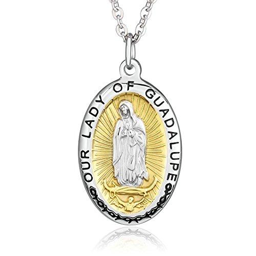 Beydodo Colgantes Acero Inoxidable Mujer Guadalupe Virgen María María Medalla Oval Plata Oro Colgante Collar Hombre