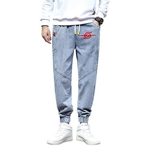 SAFTYBAY Calça de moletom masculina Naruto, calça Sasuke 3D, anime, casual, esportiva, urbana, calça jeans com cordão para meninos, Fmy - azul, L