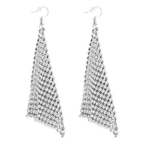 PRETYZOOM 1 par de Pendientes Triangulares de Diamantes de Imitación Pendientes Largos de Flecos de Cadena de Metal Pendientes Colgantes de Borla de Cristal Bling Pendientes de Gota para