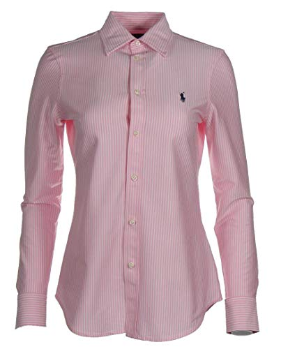 Ralph Lauren Knit Dress Shirt Bluse Hemd - Navy/Pink/Weiß (Hellpink, S)