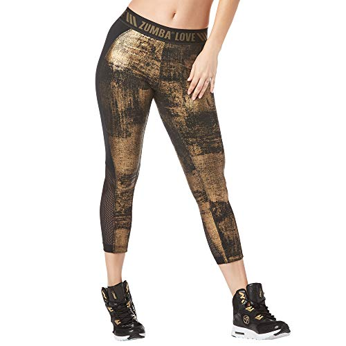 Zumba Fitness Weit Jacquard Bund Kompression Capri Hosen Workout Leggings Damen, Black B2B, S