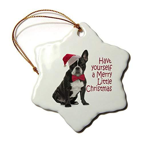 3 Inch Christmas Ornament, Santa Frenchie Christmas Snowflake Ornaments Christmas Tree Decorative Hanging, Keepsake Gift Memorial Peace & Happiness Christmas Decorations