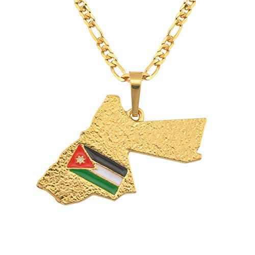 FDDSSYX Collar De Mapa,Creatividad Collar De Mapa para Mujeres Hombres, Mapa De Color Oro Reino De Jordan Bandera Colgante Encanto Novedad Hip Hop Collares De Moda para Hombres Señoras Fiesta Joyería