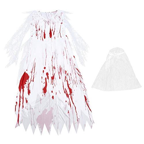 NUOBESTY Fantasia de noiva feminina de zumbi para Halloween cosplay fantasia de fantasma de noiva conjunto de véu