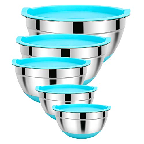 Mixing Bowls with Airtight Lids- 5 Pieces Stainless Steel Metal Bowls with Non-Slip Silicone Bottoms and Measurement Marks, Size 5, 3, 2, 1.5, 0.75QT, Ideal for Mixing & Food Prep