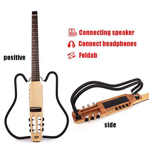 MSHK Traveler Guitar Stumm Reisegitarre Mit Deluxe Akustikgitarre Tasche (6-Saiten Set) Für Anfänger Mit Gitarrensaite, Gitarrengurt, Gitarrentasche, Capo Für Gitarre
