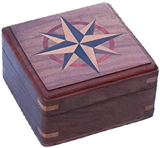 Stanley London Large Hardwood Case with Hand Inlaid Compass Rose