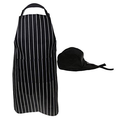 Herren Damen Grillschürze Kochschürze Küchenschürze Schürze mit Mütze Bandana Kochmütze Chef Arbeitskleidung