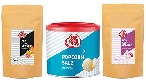 Popcornloop Gewürzmischung Set Herzhaft 3 x 300g Gewürze (Salz mit Butteraroma, Barbecue, Onion & Bacon)