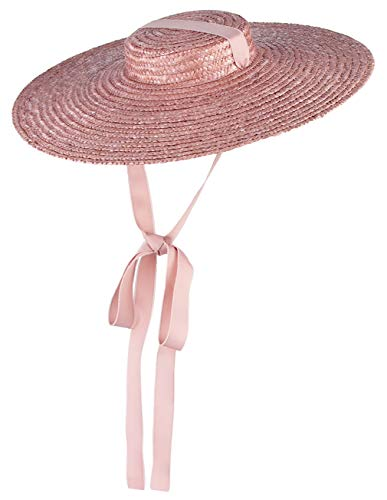 Jelord Women Ladies Vintage Straw Boater Hat Flat Top Wide Brim Floppy Derby Straw Hat Beach Sun Hats with Chin Strap Pink